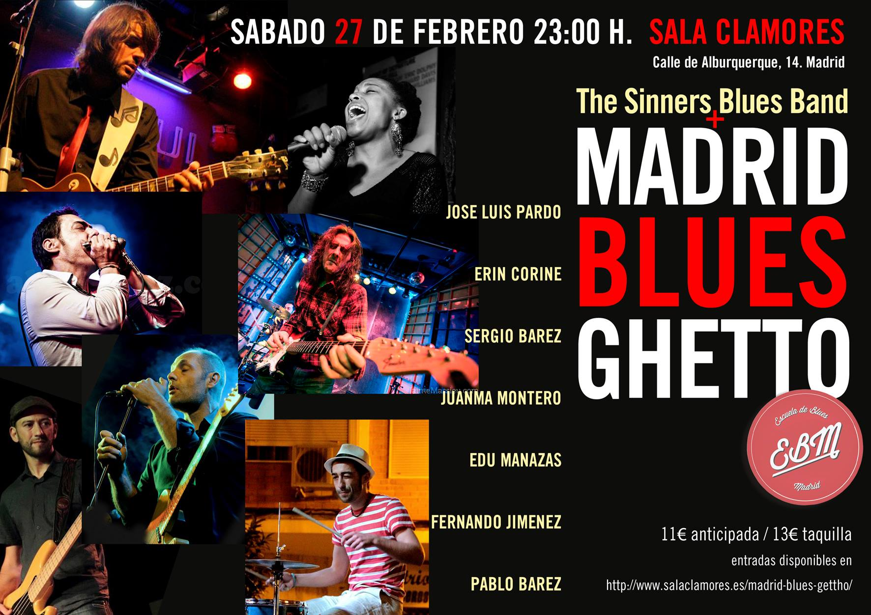 Madrid blues ghetto the sinners en sala clamores for Sala clamores madrid