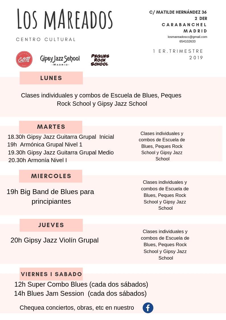 Cursos grupales 1 er trimestro 2019