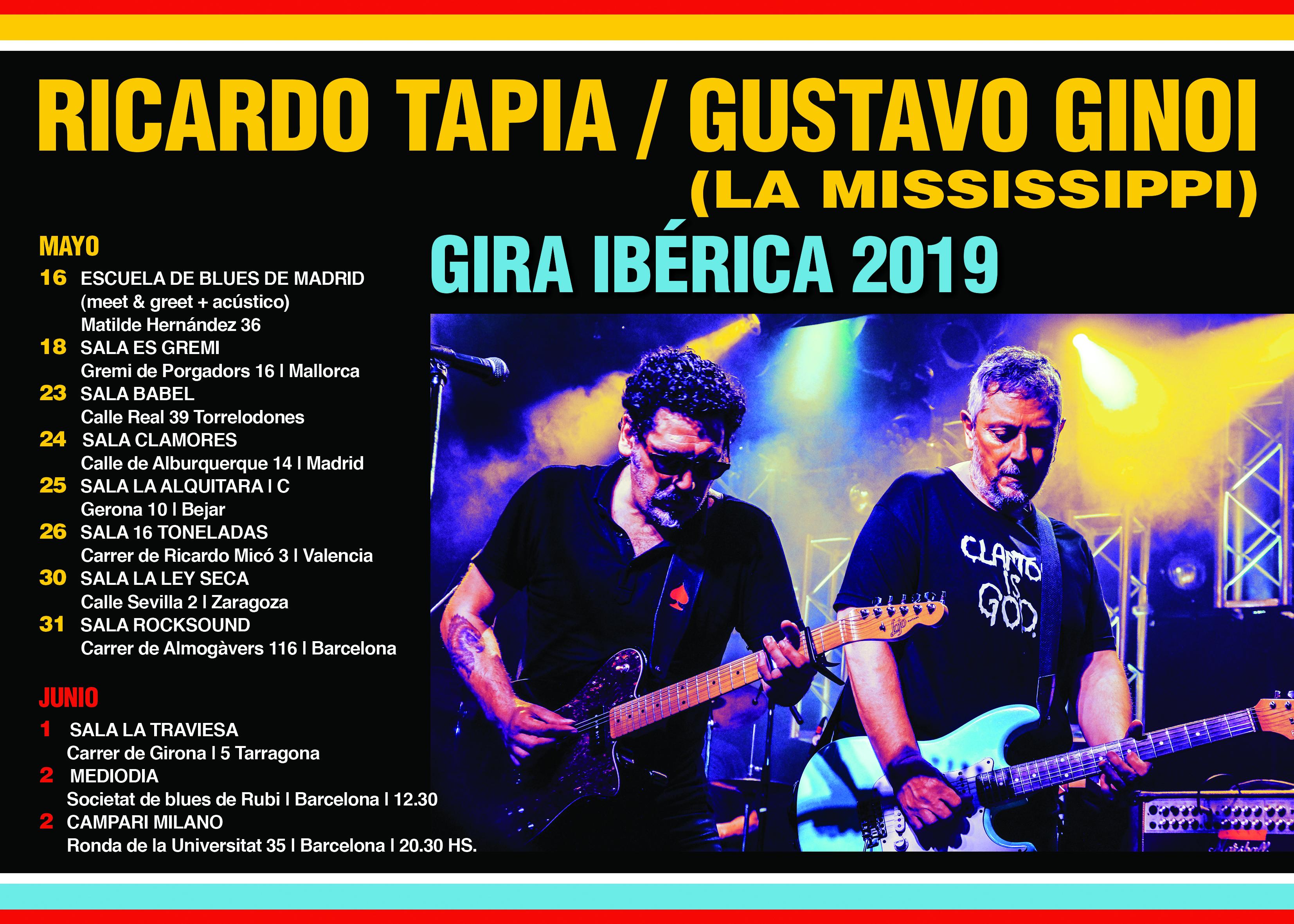 """La Mississippi es una de las bandas de Blues más importante de Argentina. Acaban de festejar su 30 años ininterrumpidos en un show en el mítico Luna Park de Bs.As. para 6000 personas. Comenzaron tocando Blues tradicional pero luego gracias a empezar a componer en español y con letras actuales llegaron al gran público con éxitos como """"Café Madrid"""", """" Blues del equipaje"""", """"San Cayetano"""" y otros.  En Mayo, parte de la Mississippi, su cantante Ricardo Tapia y su guitarrista Gustavo Ginoi estarán en España haciendo una gira tanto en formato dúo y en formato banda eléctrica acompañados por el también argentino José Luis Pardo y su banda, repasando tanto clásicos del Blues en inglés como sus propios éxitos.  En una de las primeras escalas de esa gira se presentarán en la Escuela de Blues de Madrid para dar un concierto acústico exclusivo en el que además se podrá conversar con los protagonistas en un formato íntimo e interactivo."""